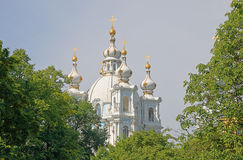 Dome of the Smolny Cathedral Stock Images