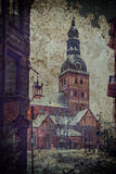 Dome square and ancient church in old Riga, Latvia. Dome square and ancient church is a major domain place in old Riga city. Riga is the capital city of Latvia royalty free stock image