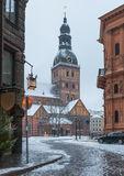 Dome square and ancient church in old Riga, Latvia Royalty Free Stock Photo