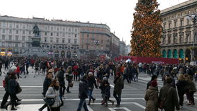 Dome Square in Milan, during Christmas stock video footage