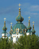 Dome of St. Andrew's Church in Kiev. Close-up of the top of the St. Andrew's Church in Kiev Stock Image