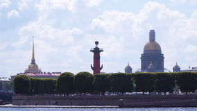 Dome of St. Isaac`s Cathedral Rostral column and spire of the Main Admiralty stock footage