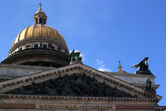 Dome of St. Isaac's Cathedral. The dome of St. Isaac's Cathedral and the sculptural group Royalty Free Stock Images