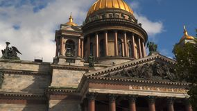 Dome of St. Isaac`s Cathedral St. Petersburg stock video