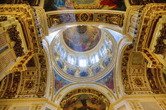 Dome of St. Isaacs cathedral viewed from the bottom Stock Photos