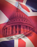 Dome of St Paul`s Cathedral London with British Flag Union Jack Royalty Free Stock Photos