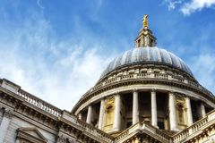 Dome of St Paul`s Cathedral. The dome of St Paul`s Cathedral in London and the sky in the background Stock Photography