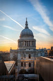 The Dome of St. Pauls Cathedral in London at sunset Stock Photos