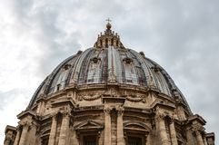 Dome of St. Peter basilica in Vatican City stock image