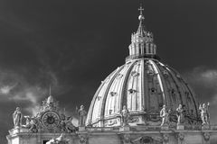 The dome of St. Peter in Rome. Italy. Black and white Stock Image