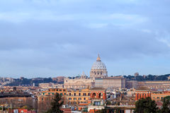 Dome of St. Peter`s Basilica at dawn, Rome, Italy Royalty Free Stock Photos