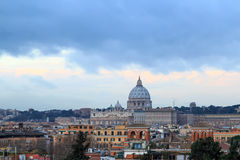 Dome of St. Peter`s Basilica at SunRise. Rome, Italy Royalty Free Stock Image