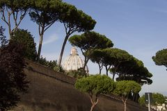 The dome of St. Peter`s Basilica in the Vatican on the backgroun stock image