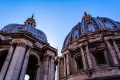 Dome of St Peter`s Basilica in Vatican stock images