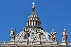 Dome of St. Peter`s Square. The dome of St. Peter`s Basilica, The Cupolone, so called the Romans the extraordinary architectural example made by Michelangelo stock image