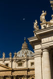 Dome of St Peters Basilica and Carvings on top of Colonnades, Va Royalty Free Stock Photography