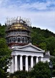 City of Montpelier, Washington County, Vermont, United States, State Capital. Dome of State House undergoing renovation with surrounding scenic landscape royalty free stock images