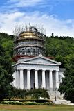 City of Montpelier, Washington County, Vermont, United States, State Capital. Dome of State House undergoing renovation with surrounding scenic landscape stock photos
