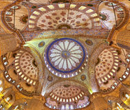 Dome of the Sultanahmet Mosque. Dome inside of the Sultanahmet Mosque (Blue Mosque) in Istanbul, Turkey Royalty Free Stock Image