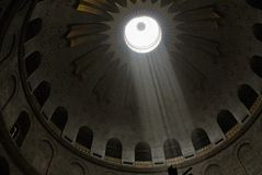 Dome with Sun Rays. Sun rays shining through dome of the Church of the Holy Sepulchre, Jerusalem. (noise added Stock Photography