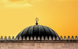 Dome of the synagogue with the sign of the star of David at sunset stock photos