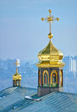 Dome of the temple. Купол храма. Domes of Kiev-Pechersk Lavra Stock Photography