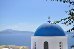 The dome of the temple on the Greek island. Stock Photo