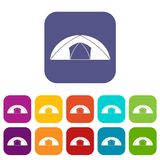 Dome tent for camping icons set flat Stock Image