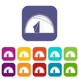 Dome tent icons set flat Royalty Free Stock Photos