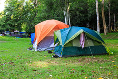 Dome tents in camping site Stock Photos