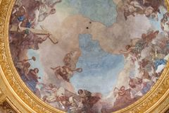 Dome of the tomb of Napoleon Bonaparte at Les Invalides decorated from the inside with religious frescos Stock Photography