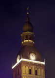 The Dome tower in Riga in the night Royalty Free Stock Images