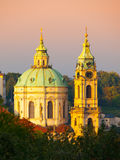 Dome and tower of St. Nicholas Church in Prague Royalty Free Stock Photo