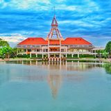 Dome tower in Thamasat University. Dome administration building in Thamasat University (University in Thailand). This building is very popular in Thamasat Stock Photo