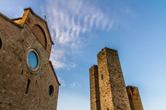 Dome and Towers during Sunset -San Gimignano,Italy Stock Images