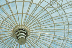 Dome trade center. Glass dome of a shopping center stock photo