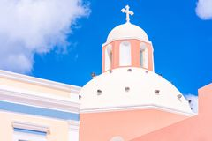 A dome of a  traditional Greek church in Fira. A dome of a  traditional Greek church, Fira, Santorini, Greece stock image