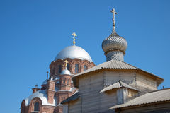 The dome of Trinity Church and the Cathedral of the icon of the Mother of God. Ioanno-predtechenskiy monastery, Sviyazhsk. Russia royalty free stock image
