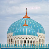 The dome. A unique mosque design with a rare color for the dome in an island far away from UAE Royalty Free Stock Photo