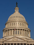Dome of US Capitol. US Captil Dome with Flag in Washignton, D.C Stock Photo