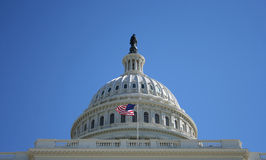 Dome of US Capitol building. And American Flag Washington DC Royalty Free Stock Photo