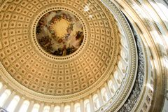 Dome of US Capitol building. Interior dome of US Capitol building in Washington DC - art, mosaic, windows, circular, ceiling Stock Photography