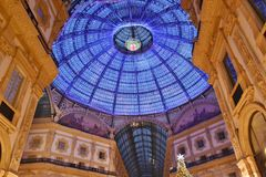 Dome of the Vittorio Emanuele II Gallery decorated with Swarovski crystals for the Christmas holidays. stock photography
