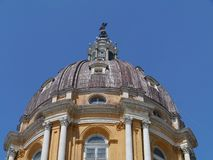 The dome of the yellow Superga Basilica royalty free stock photography