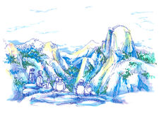 The Dome, Yosemite California National Park illustration Royalty Free Stock Photography