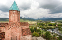 Domed Church of the Archangels, built of stone in 16th century, Gremi town near Telavi. Landscape of Kakheti, Georgia. Stock Photo
