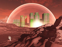 Domed city on inhospitable planet. Perhaps mars Stock Images
