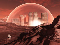 Domed city in inhospitable planet. Perhaps mars Royalty Free Stock Photo