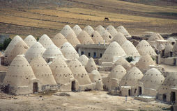Domed huts in Syria. Domed, mud huts of semi-nomads in eastern Syria royalty free stock image