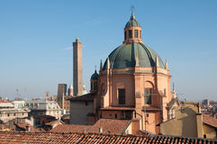 Domed roof of the Sanctuary of Santa Maria della Vita, Bologna Italy. Domed roof of the Sanctuary of Santa Maria della Vita with the Two Towers, Asinelli and Royalty Free Stock Image